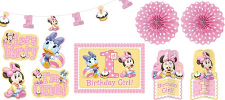 1st Birthday Minnie Mouse Room Decorating Kit 10 Pc