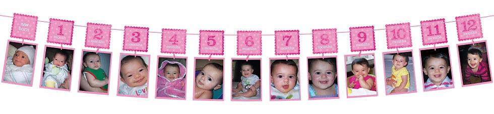 Pink Glitter 1st Birthday Photo Garland